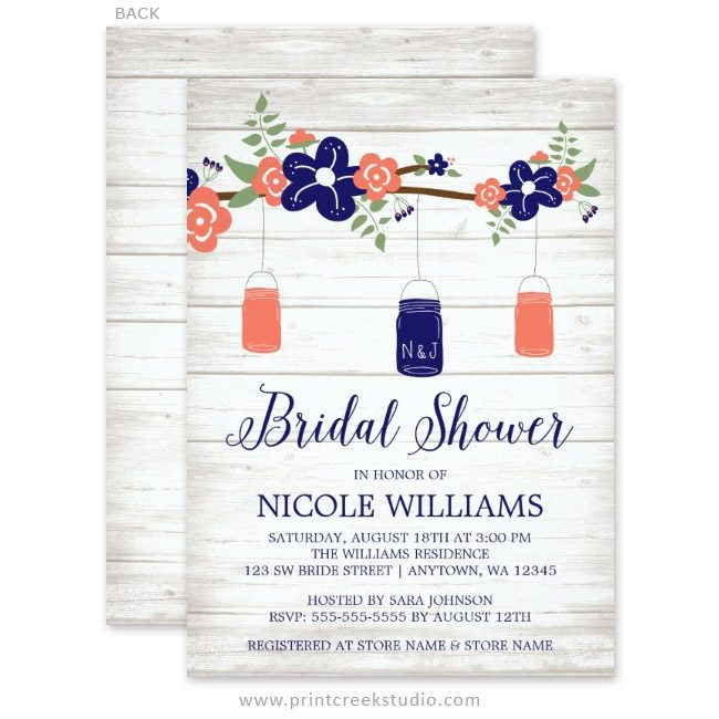 Rustic bridal shower invitations.