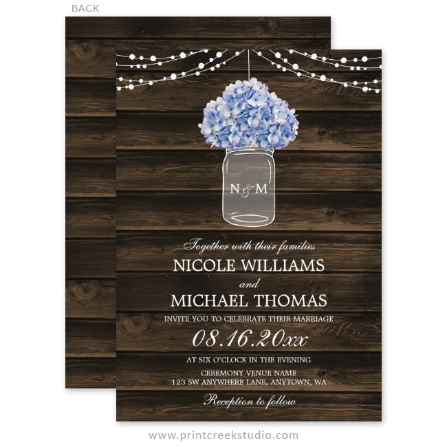 Hydrangea mason jar wedding invitations