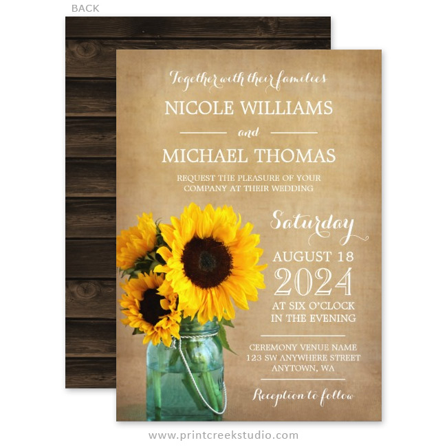Rustic Sunflowers Mason Jar Country Wedding Invitations