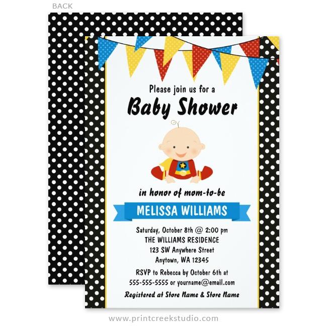 Superhero Polka Dot Bunting Baby Shower Invitations Print Creek