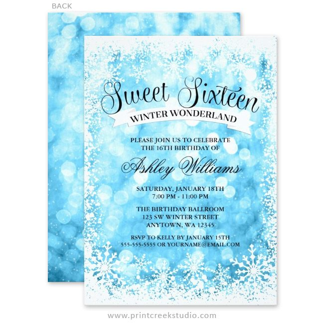 Sweet 16 winter wonderland invitations.