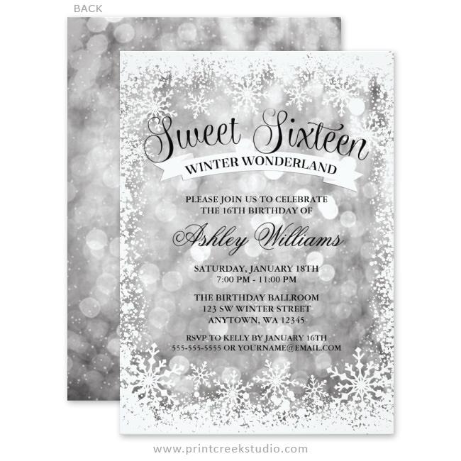 Winter wonderland sweet 16 invitations