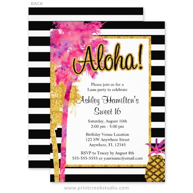 Pink and gold luau sweet 16 invitations.