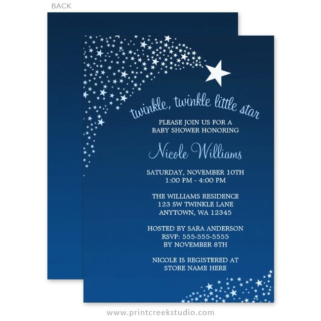 Blue twinkle twinkle little star baby shower invites.