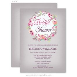 Rustic floral watercolor bridal shower invitations.