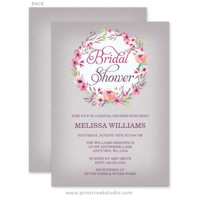 Vintage Floral Watercolor Wreath Bridal Shower Invitations