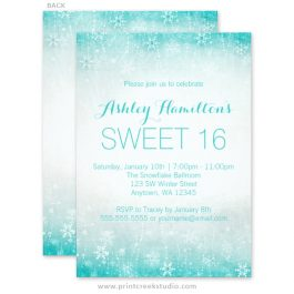 Teal sweet 16 winter wonderland invitations