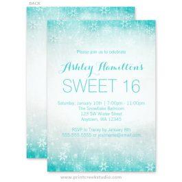 Teal sweet 16 winter wonderland invitations
