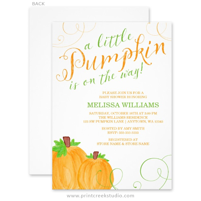 Baby shower invitations print creek studio inc little pumpkin baby shower invites filmwisefo Gallery