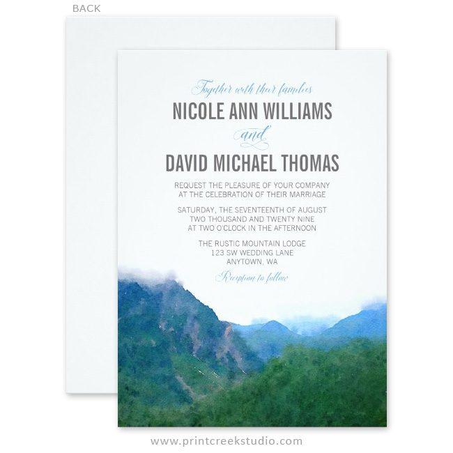 Rustic mountain wedding invitations.