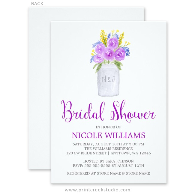Watercolor mason jar bridal shower invitations.