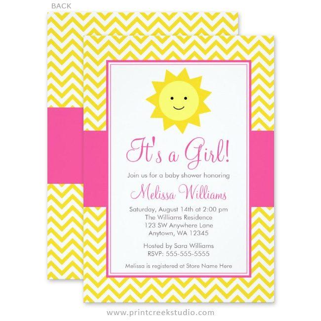 Girl sunshine baby shower invites.