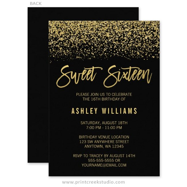Black and gold sweet 16 birthday invitations