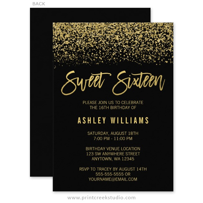 Modern Black Faux Gold Glitter Sweet 16 Invitations - Print Creek Studio Inc