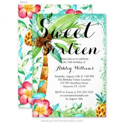 Tropical watercolor sweet sixteen invitations.