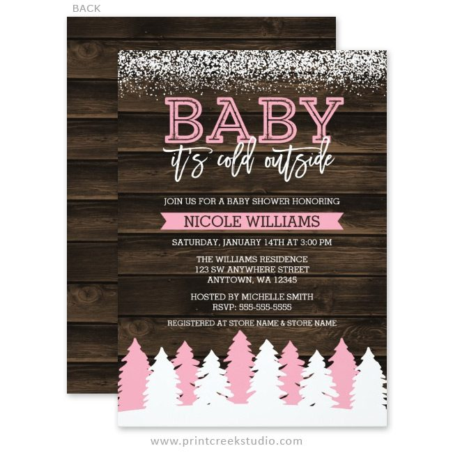 Rustic winter girl baby shower invitations