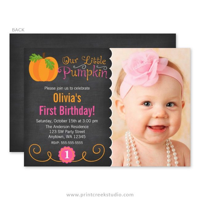 Little pumpkin girl first birthday invitations.