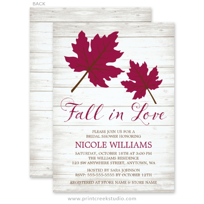 Rustic fall leaves bridal shower invitations