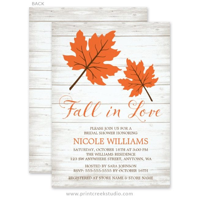 Orange and brown fall bridal shower invitations
