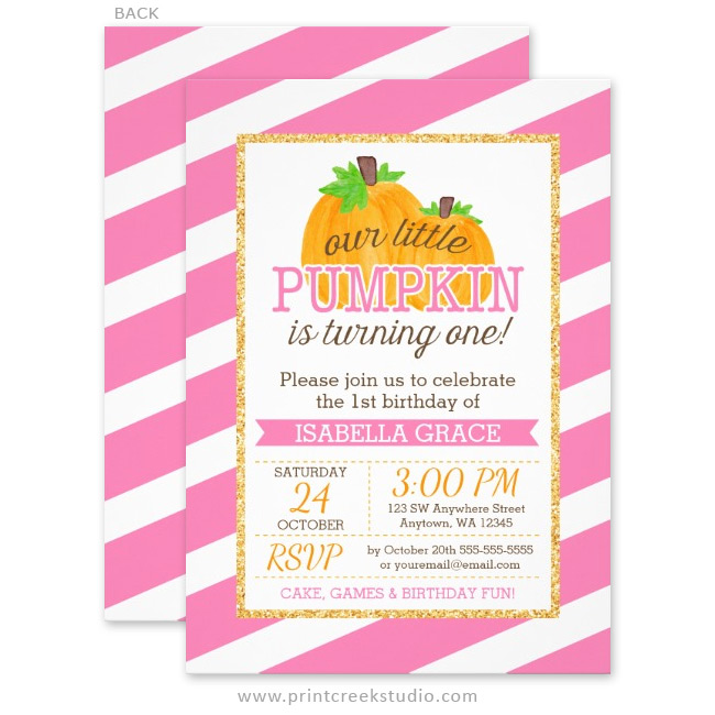 Pink Gold Little Pumpkin Girl First Birthday Invitations Print - 1st birthday invitations gold and pink