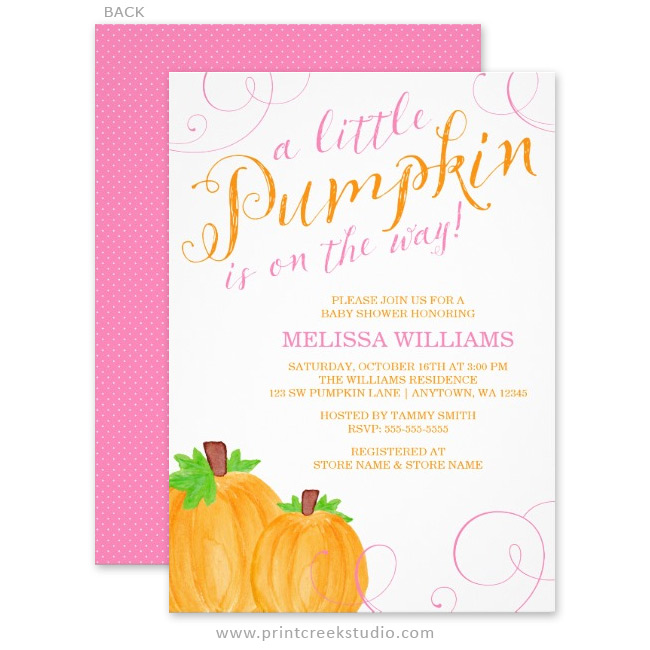 Watercolor fall girl baby shower invitations