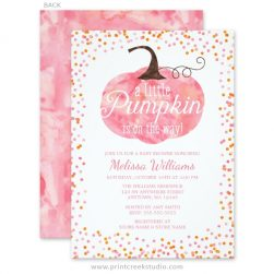 Pink pumpkin fall baby shower invitations