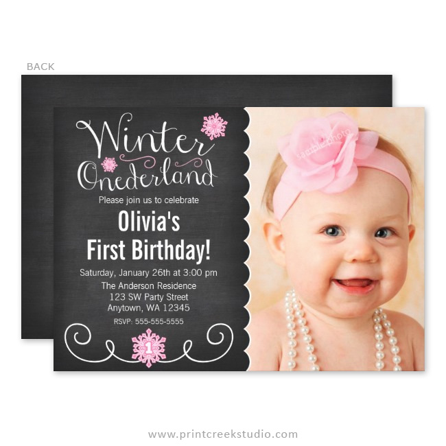 Winter wonderland first birthday invitations