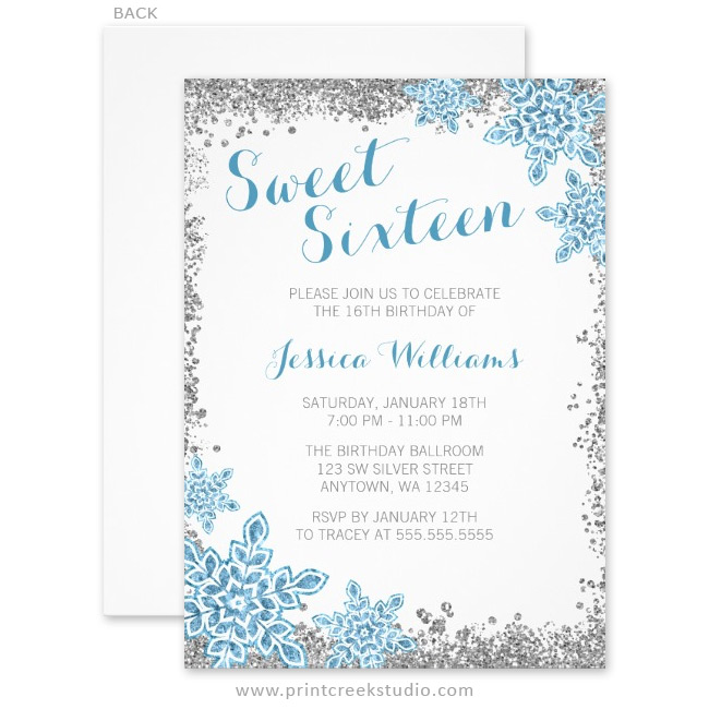 Sweet 16 Glam Winter Wonderland Silver Blue Invitations ...