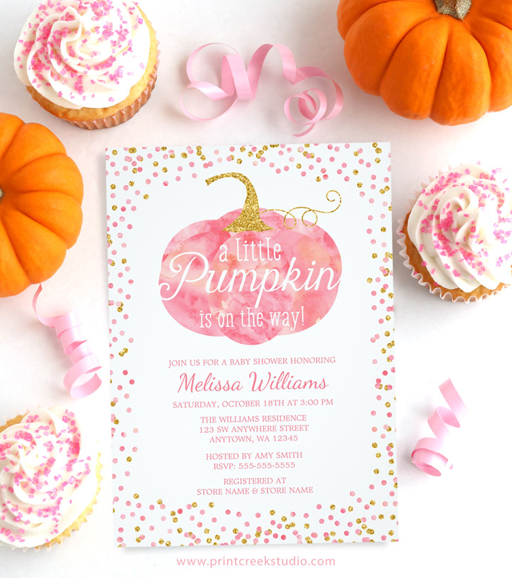 Little pumpkin girl baby shower invitations