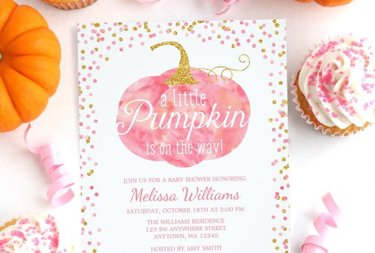 Pink and Gold Fall Pumpkin Baby Shower Invitations