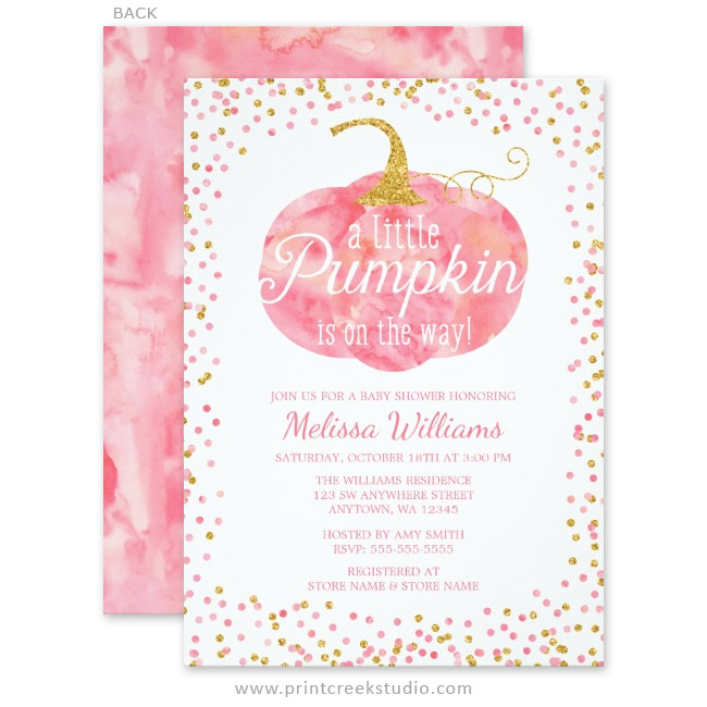 Watercolor pumpkin glitter fall girl baby shower invitations print pink and gold fall baby shower invitations filmwisefo