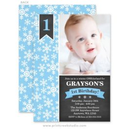 Winter onederland birthday invitations