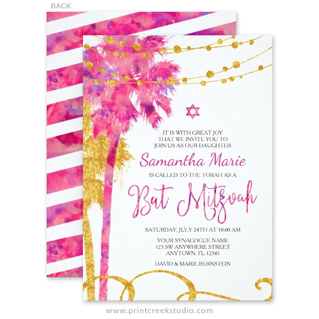 Pink Gold Watercolor Beach Bat Mitzvah Invitations Print Creek