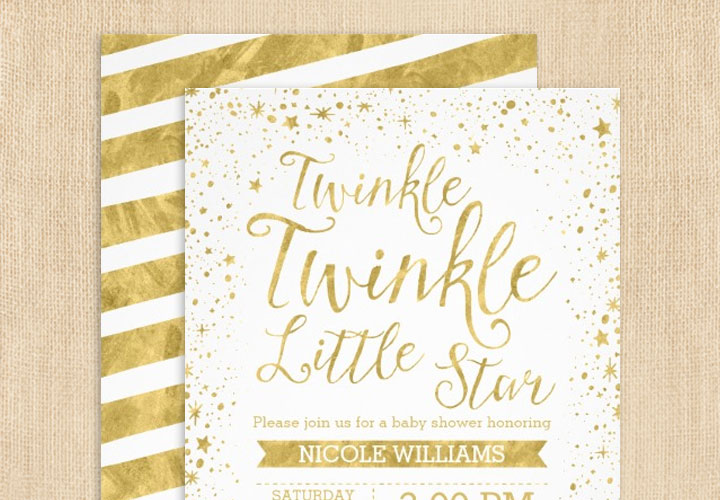 Gold Twinkle Twinkle Little Star Baby Shower Invitations Print