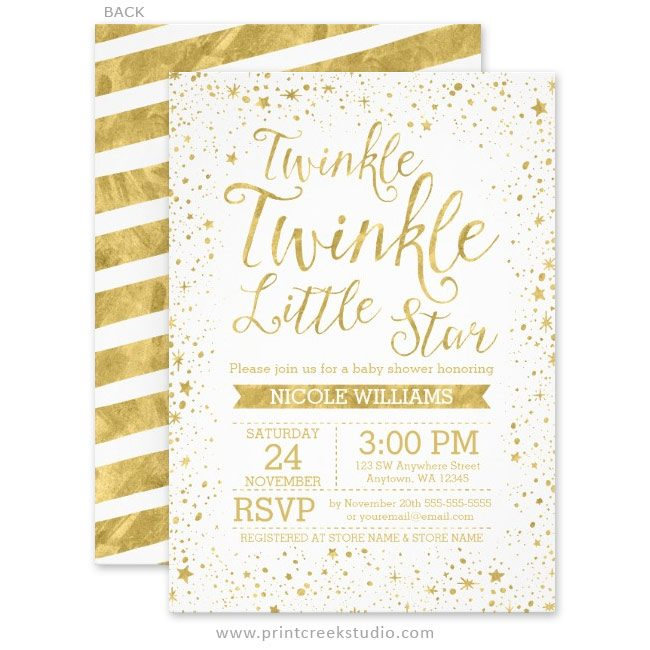 Gold twinkle little star baby shower invitations