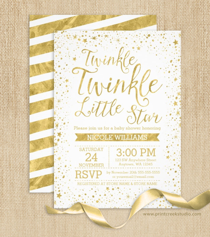 Gold twinkle twinkle little star baby shower invitations print twinkle twinkle little star baby shower invites filmwisefo
