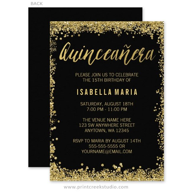 Gold glitter Quinceanera birthday invitations.