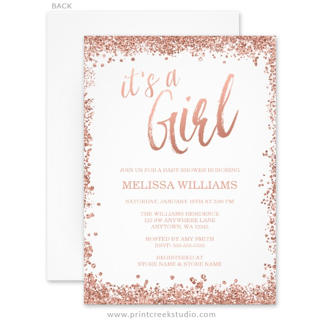 Girl Rose Gold Faux Glitter Baby Shower Invitations ...