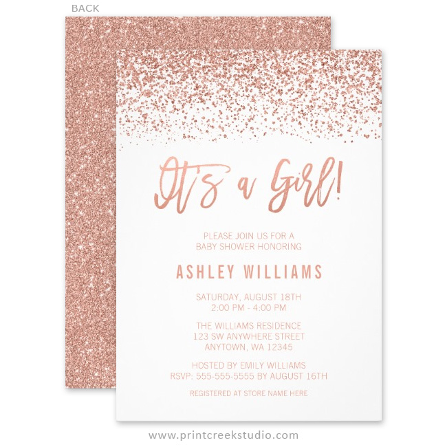 Modern faux rose gold glitter girl baby shower invitations print rose gold glitter girl baby shower invitations filmwisefo