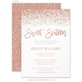 Rose gold glitter sweet 16 invitations