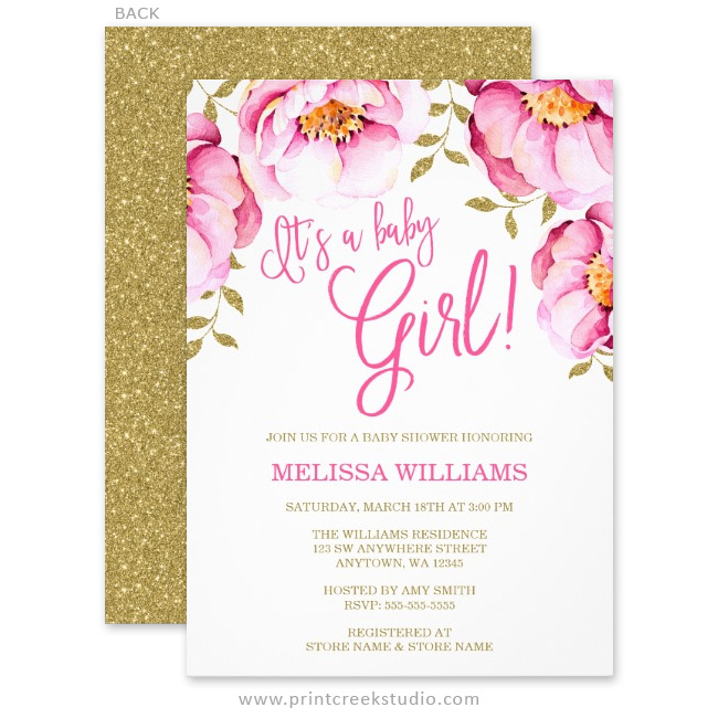 Pink Gold Floral Watercolor Baby Shower Invitations Print Creek