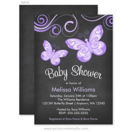 Girl butterfly baby shower invitations