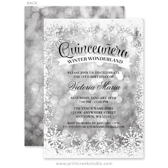 quinceanera winter wonderland silver sparkle invitations print