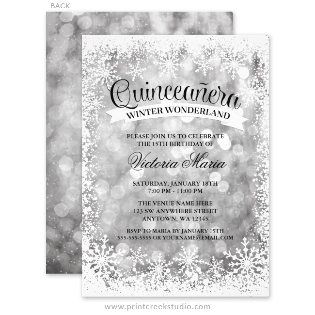 3f3fcfd271 Quinceanera Winter Wonderland Silver Sparkle Invitations - Print ...