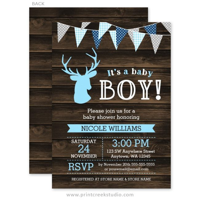 Boy deer baby shower invitations