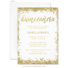 Gold Glitter Quinceanera 15th Birthday Invitations