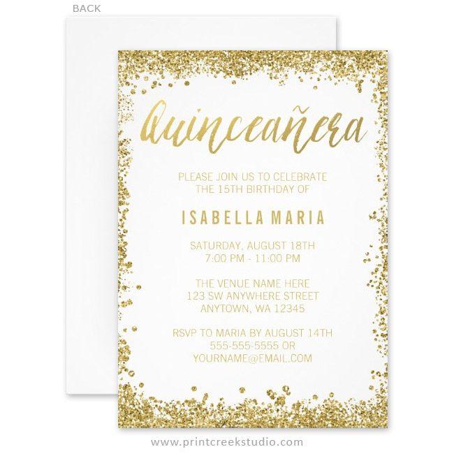 Gold Glitter Quinceanera 15th Birthday Invitations
