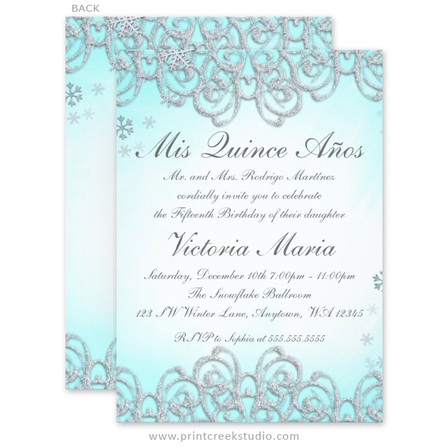 Winter Wonderland Swirl Snowflakes Quinceanera Invitations