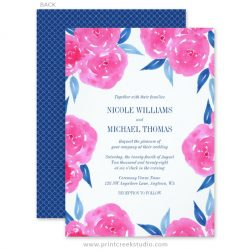 Hot pink and navy blue wedding invitations