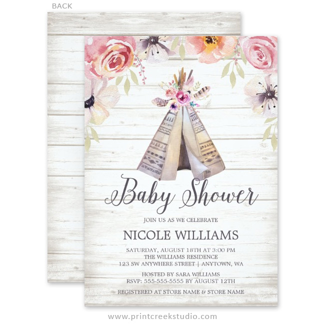 Rustic Boho Tribal Teepee Girl Baby Shower Invitations - Print Creek Studio Inc